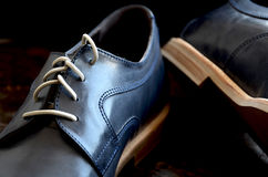 Blue Leather Man Shoes. Classic design stock image
