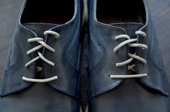 Blue Leather Man Shoes. Classic design stock photo