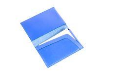 Blue leather name card pocket Stock Images