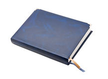 Blue leather notebook. On a white background, isolated Stock Photos
