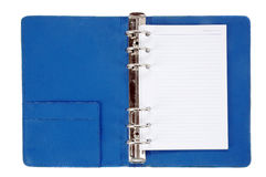 Blue leather notebook Stock Images