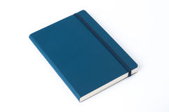 Blue leather notebook isolated on white background Stock Images