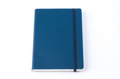 Blue leather notebook isolated on white background Royalty Free Stock Photos