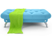 Blue leather ottoman Stock Images