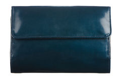 Blue leather purse Royalty Free Stock Image