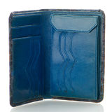 Blue leather purse Stock Images