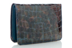 Blue leather purse Stock Image