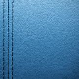 Blue leather with seam Stock Images