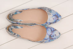 Blue leather shoes, ballet flats Royalty Free Stock Photos