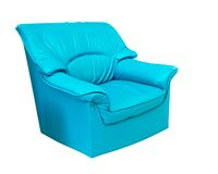 The blue leather sofa isolated on white Royalty Free Stock Photo