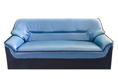 The blue leather sofa isolated on white Stock Photos