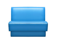 Blue leather sofa isolated on a white Stock Photography