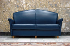 Blue leather sofa Royalty Free Stock Images