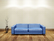 Blue leather sofa Stock Photography
