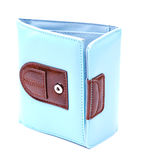 Blue leather wallet isolated Stock Photo