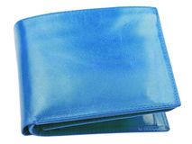 Blue leather wallet isolated on white Stock Images