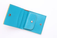 Blue leather wallet. On a white background Royalty Free Stock Photo