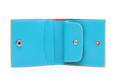 Blue leather wallet. On a white background Stock Image
