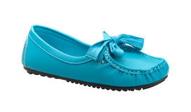 Blue leather woman shoe Stock Images