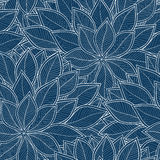 Blue leaves on a blue background vector seamless abstract patter Royalty Free Stock Photo