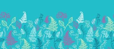 Blue Leaves Horizontal Seamless Pattern Background Royalty Free Stock Photos