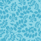 Blue leaves seamless pattern background. Vector blue leaves seamless pattern background with hand drawn floral motif vector illustration