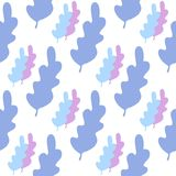 Blue leaves seamless pattern in pastel colors. Leaf branch backdrop. Vector forest illustration on white background. Flat style for textile fabric, wrapping vector illustration