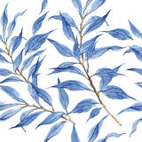 Blue leaves vector watercolor texture pattern. Stock Photos