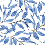 Blue leaves vector watercolor texture pattern. Royalty Free Stock Photo