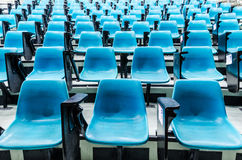 Blue lecture chairs. Rows of blue lecture chairs Stock Images