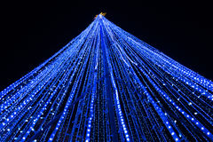 Blue led lighting effect as christmas tree Royalty Free Stock Photography