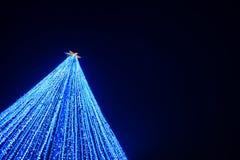 Blue led lighting effect as christmas tree Royalty Free Stock Photo