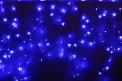 Blue led lights. Closeup of blue led lights on the wall royalty free stock photography