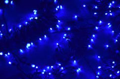 Blue led lights lit in the night royalty free stock photos