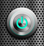 Blue LED power button Royalty Free Stock Photos
