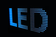 Blue LED sign at the LED smd screen. Close up background stock images