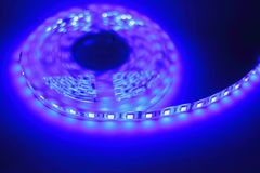 Blue LED strip light Royalty Free Stock Photography