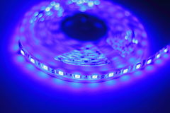Blue LED strip light Royalty Free Stock Image
