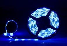 Blue led stripe coiled. stock image