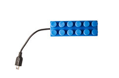 Blue lego connected to usb cable Stock Photo