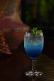 Blue lemon soda. In glass Royalty Free Stock Photography