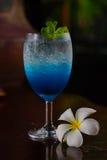 Blue lemon soda. In glass Stock Image