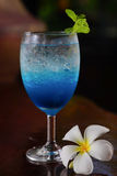 Blue lemon soda. In glass Stock Photos