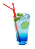 Blue lemonade cocktail on a white background Royalty Free Stock Image