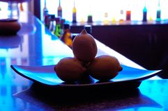 Blue lemons. On the table Stock Photography