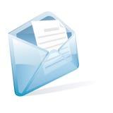 Blue letter. Vector blue transparent letter with document stock illustration