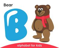 Blue letter B and brown Bear. stock illustration