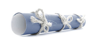 Blue letter tube tied with cord, three natural nodes isolated Stock Images