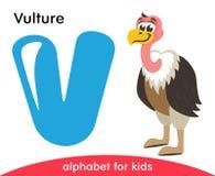 Blue letter V and cute Vulture. royalty free illustration