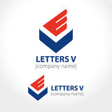 Blue letter V with red wing. Vector illustration Stock Image